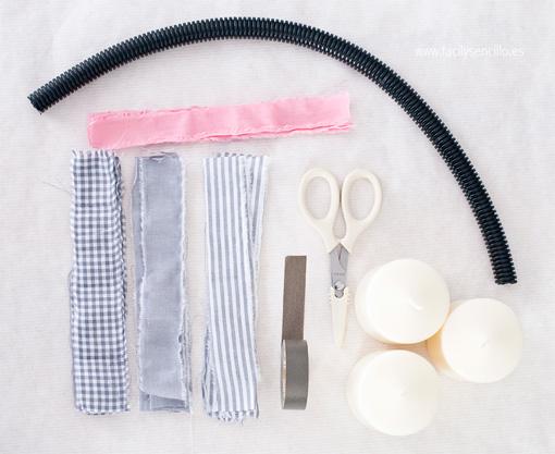 Materiales para un centro de mesa con tela - TELVA