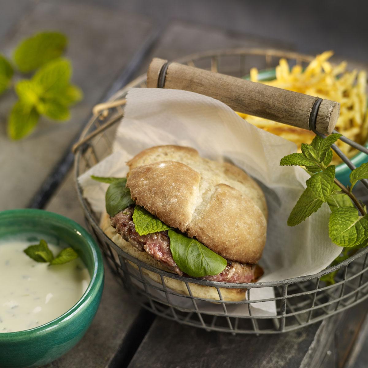 Hamburguesas de cordero con menta y cilantro