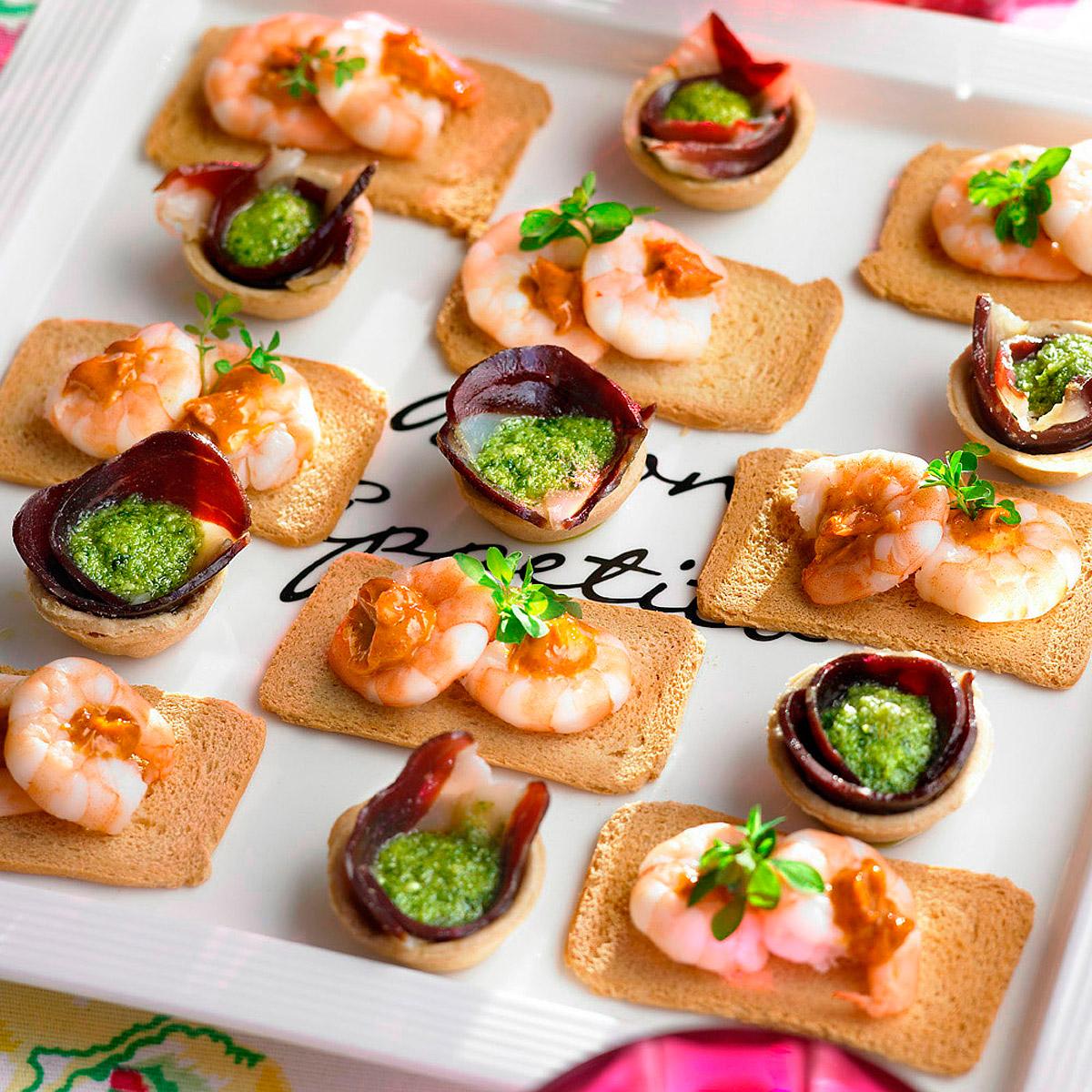 Tartaletas de jamón con pesto manchego