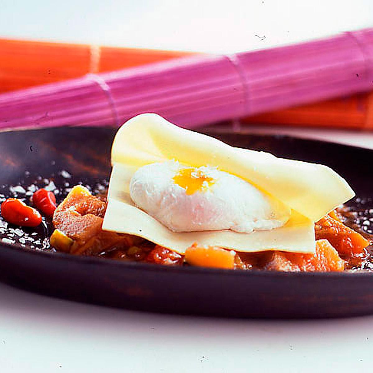 Raviolis de huevo escalfado