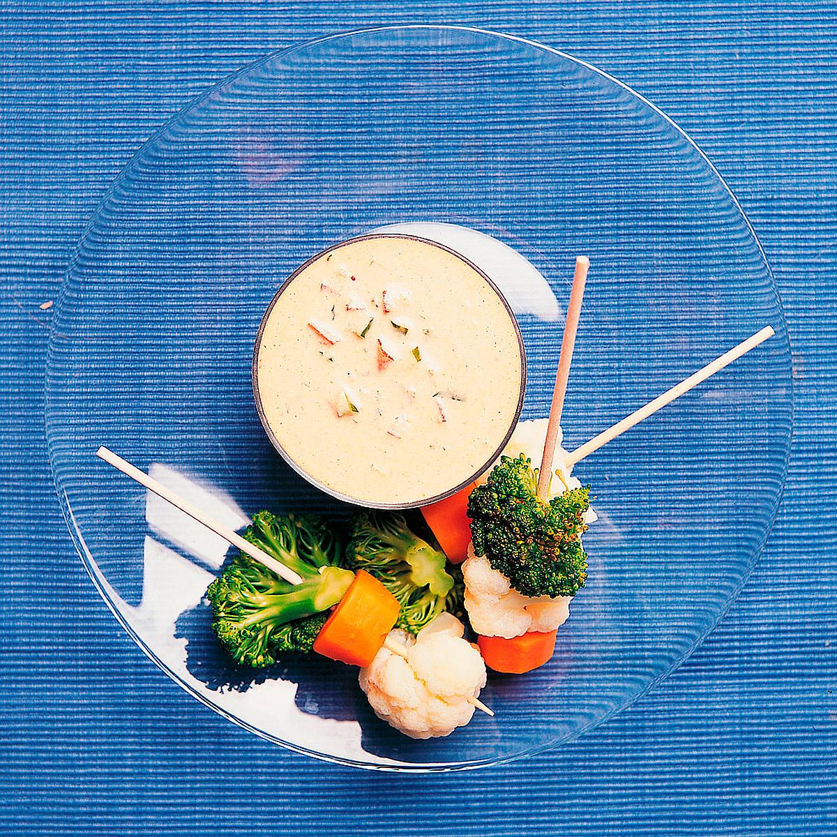 Brochetas con salsa andaluza