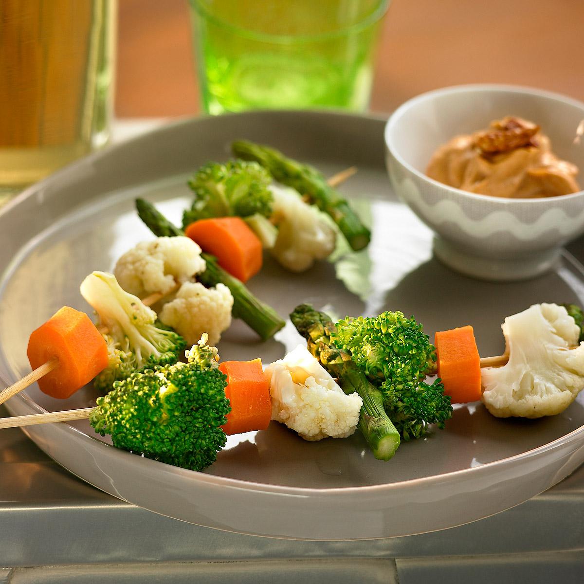 Verduras al vapor con mayonesa de cayena