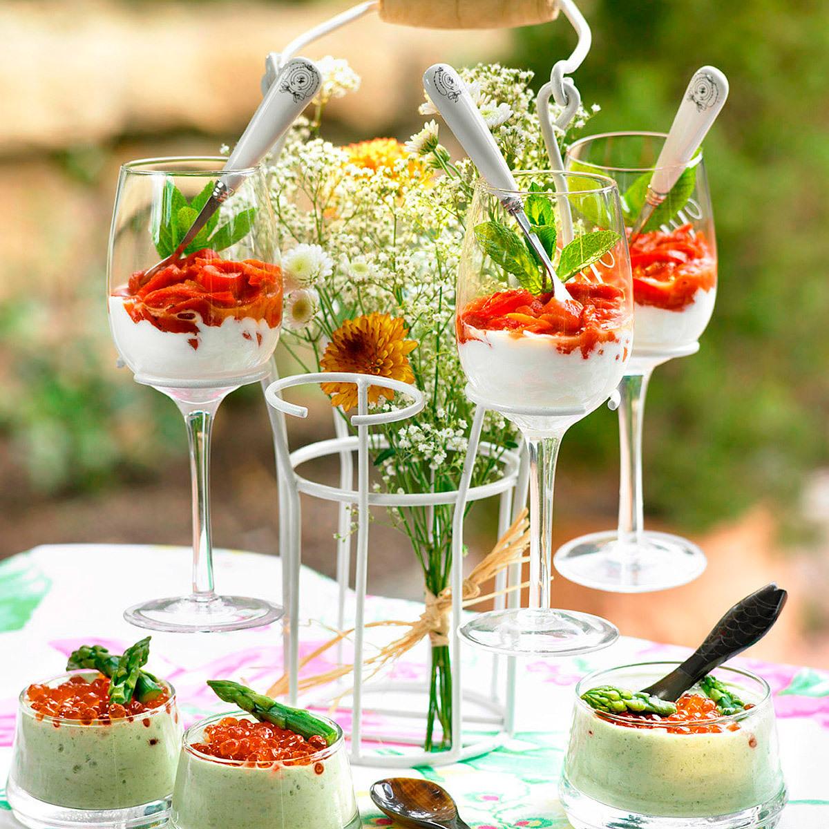 Chupitos de crema de coliflor y gorgonzola