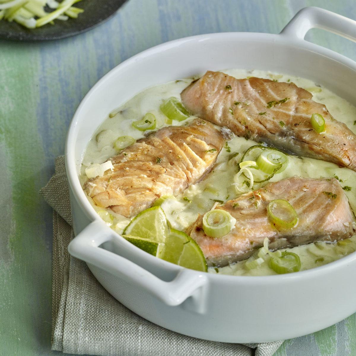 Salmón con cítricos y wasabi.