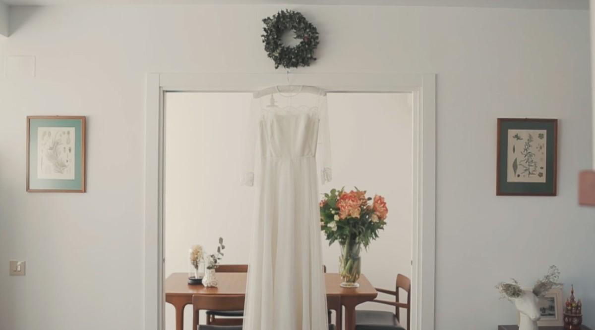 El vestido de Ana era un diseño vintage de Something Old.
