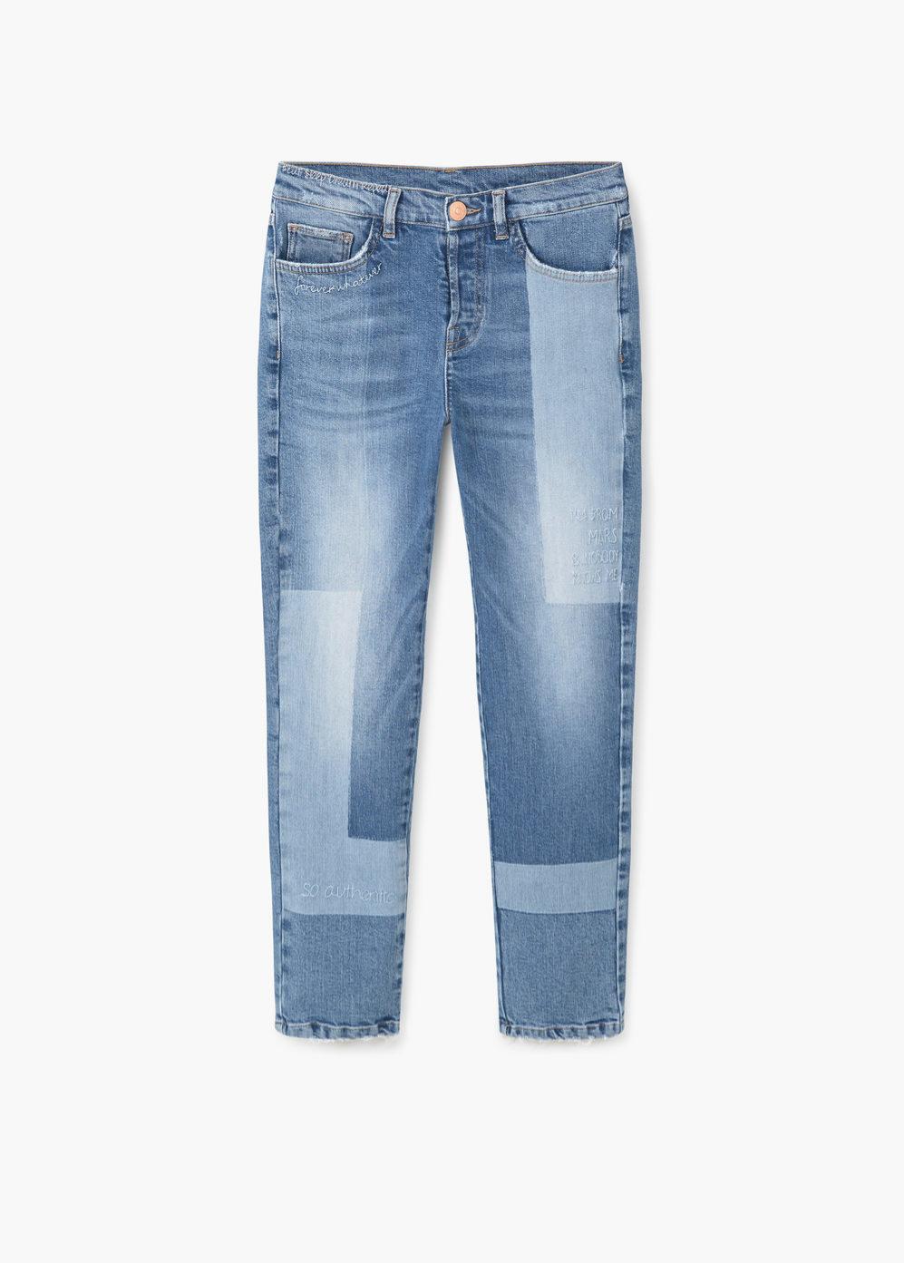 Pantalones con detalles bicolor. De Mango, 39,99 euros.