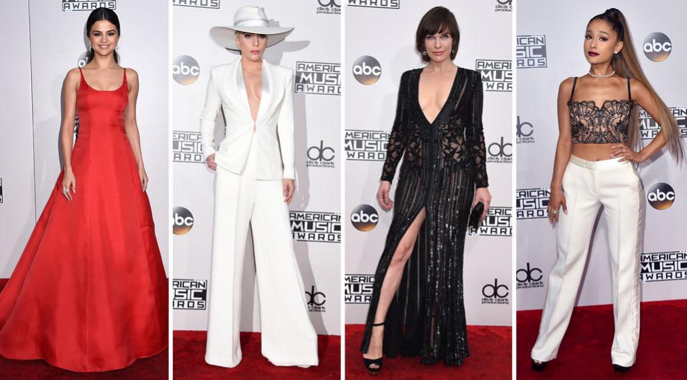 Selena Gómez, Lady Gaga, Elie Saab y Ariana Grande en la gala de los...