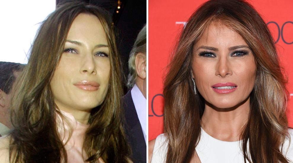 A la izquierda, una imagen de Melania Trump en mayo de 2001 y a la...