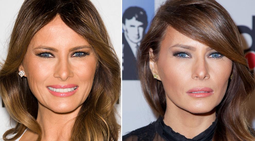 A la izquierda una instantánea de Melania Trump en 2001 y a la...