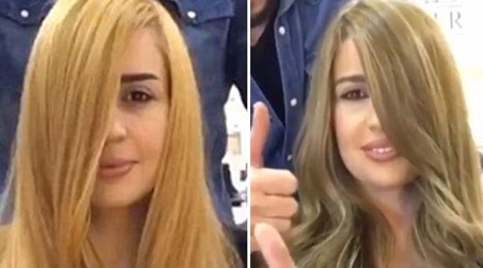 Antes y después de aplicar la crema de cacao para teñir el pelo de...