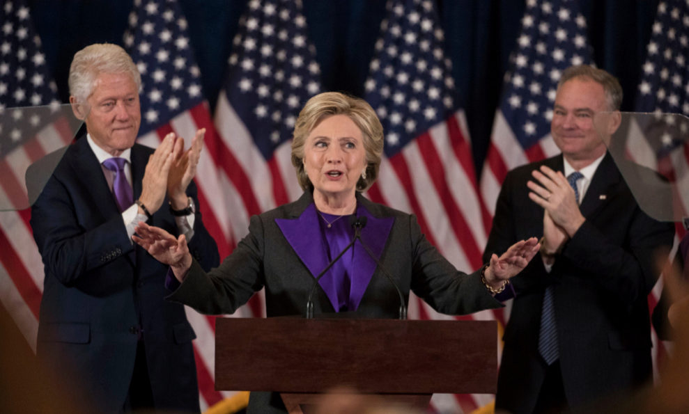 Hillary Clinton tras su derrota electoral.