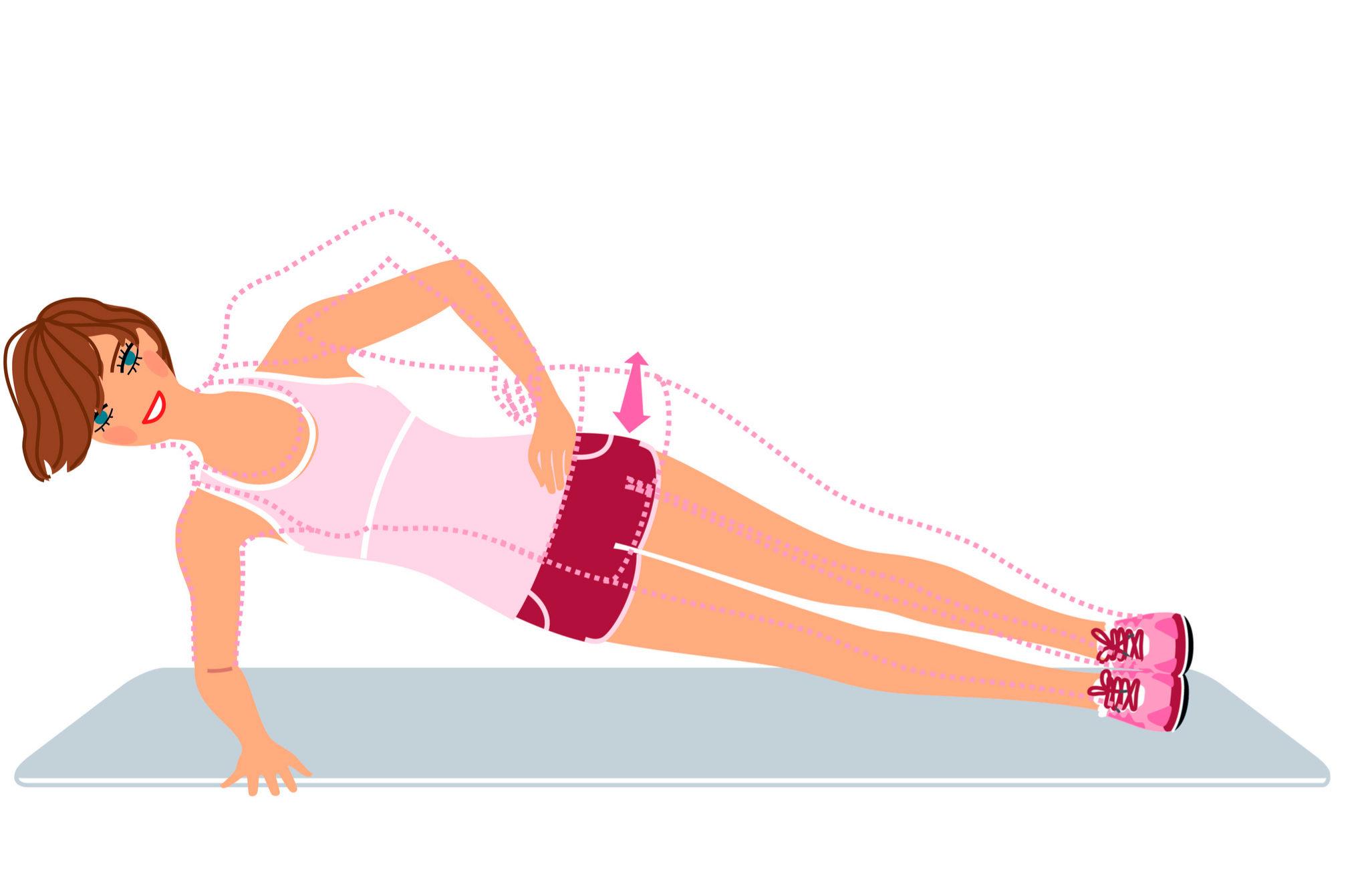 Plancha lateral, apoyada sobre un antebrazo y la parte lateral del...