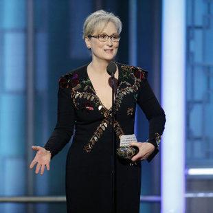 Meryl Streep durante su discurso en los Globos de Oro.