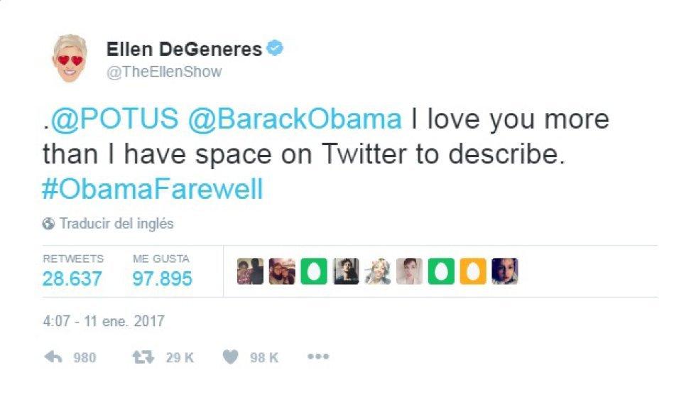 "Ellen DeGeneres: ""Barack Obama, te quiero más de lo que twitter me..."