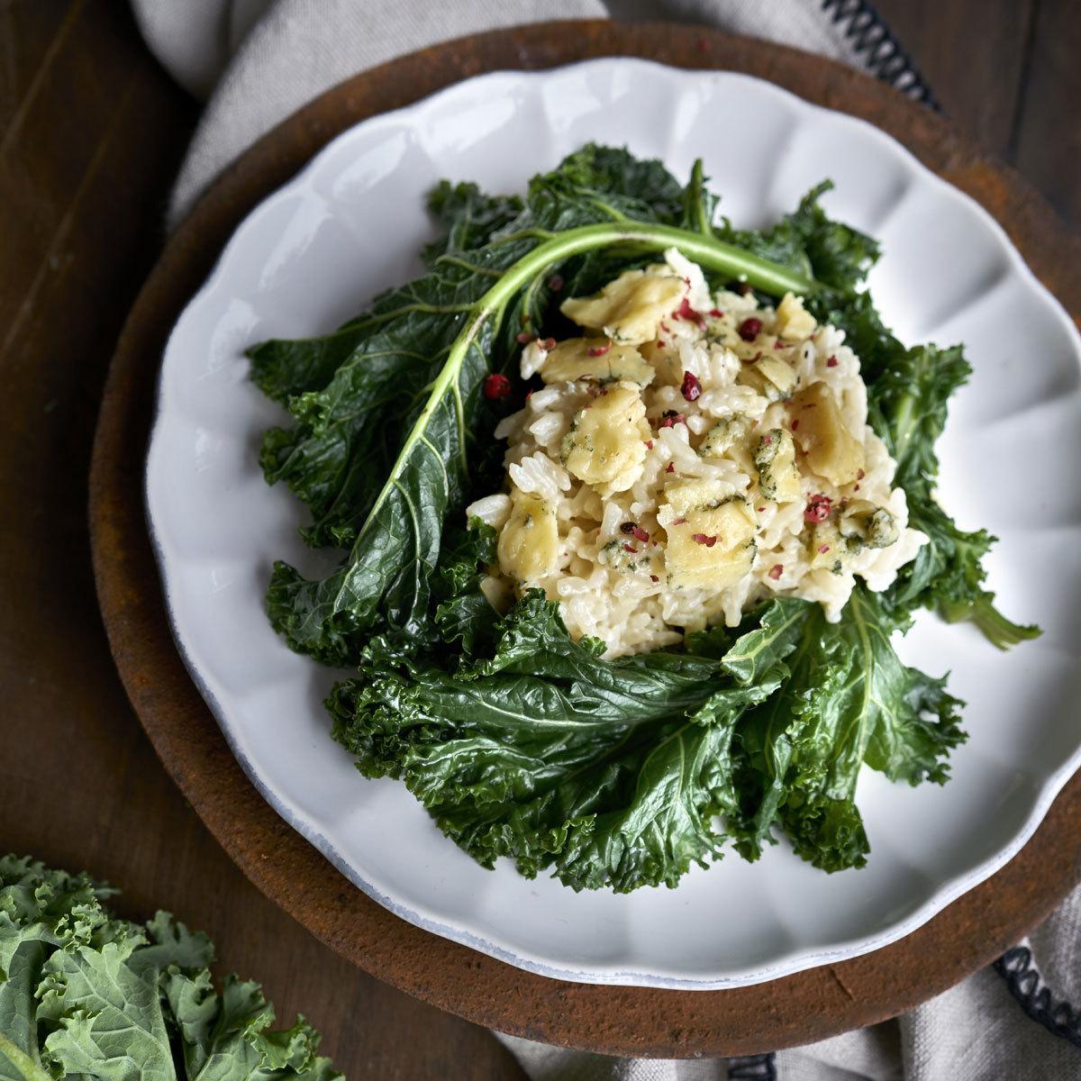 Risotto de kale con Stilton