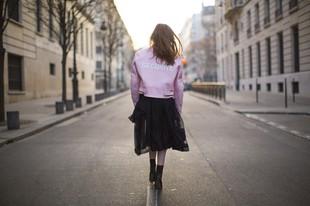 Vetements pink leather jacket.
