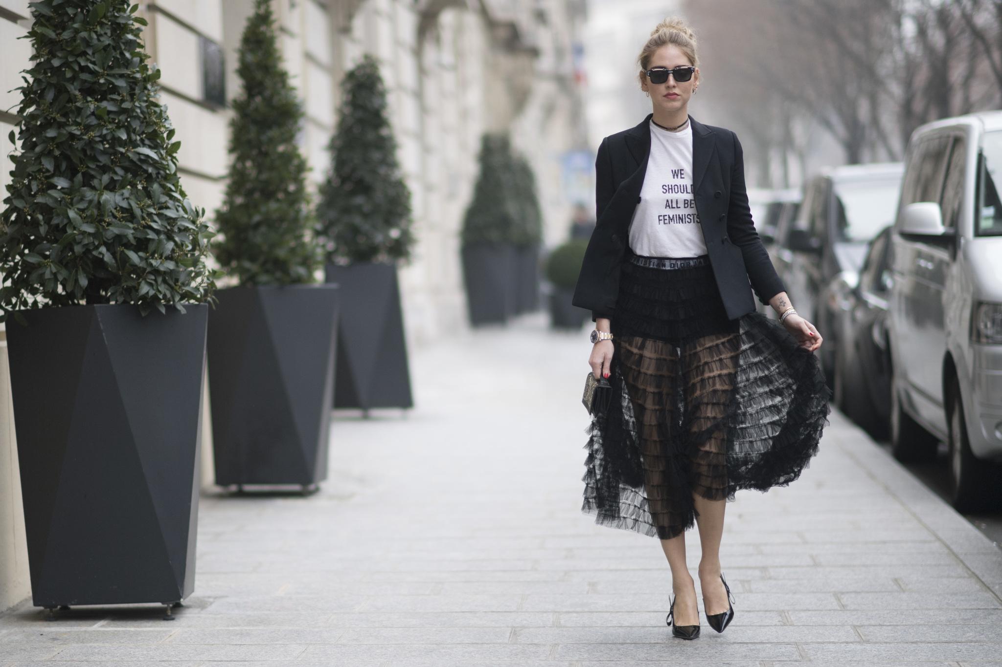Chiara Ferragni con la camiseta de Dior en la última edición de la...