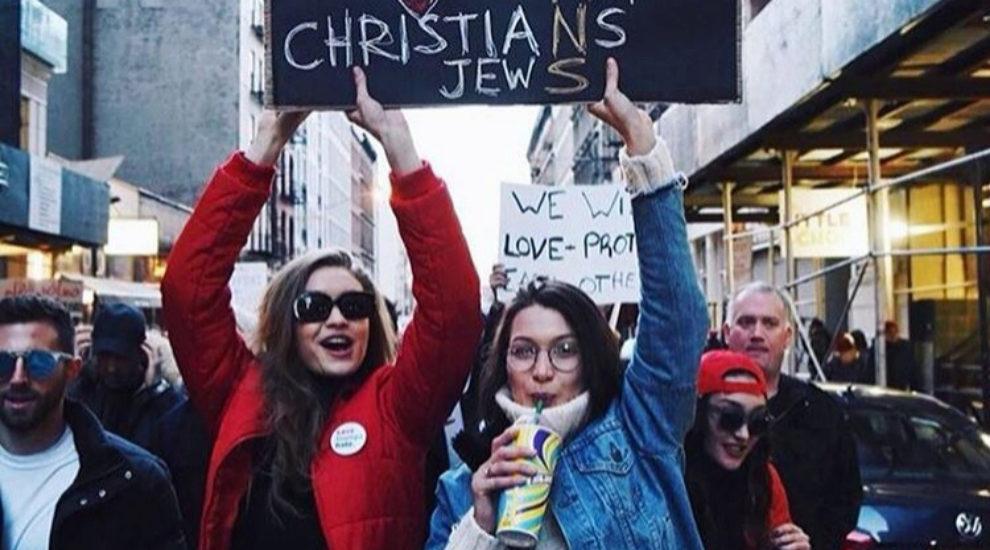 Gigi Hadid y Bella Hadid, en la protesta de Nueva York el 29 de enero.