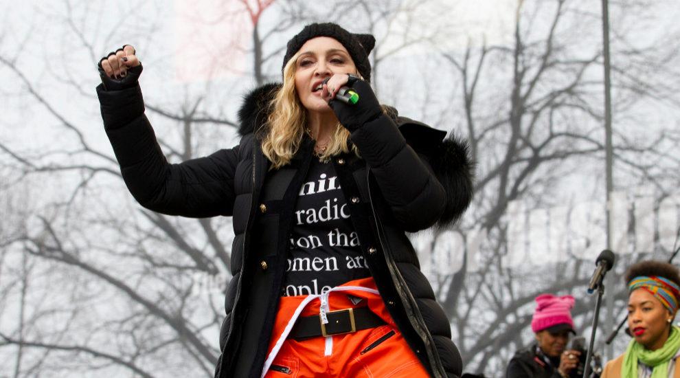 Madonna, en el acto de protesta contra Donald Trump en la...