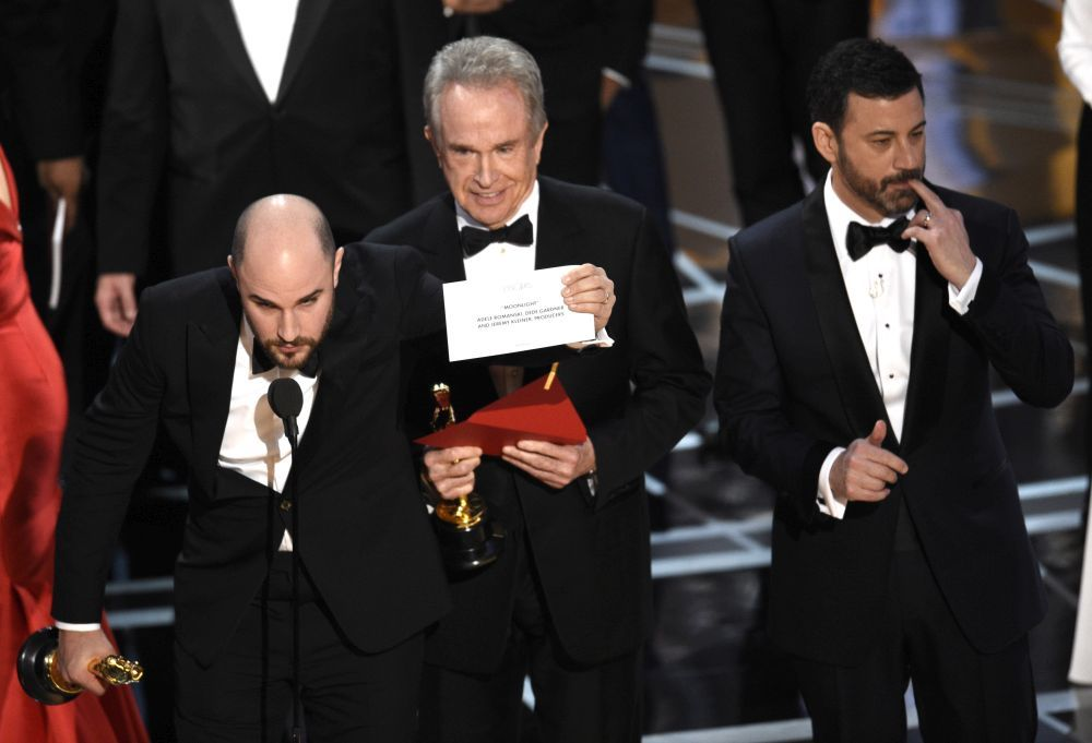 Momento en el que el equipo de La La Land se da cuenta del error.