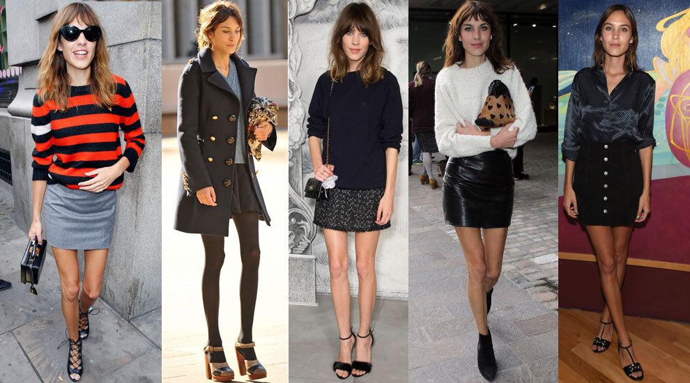 Alexa Chung es experta en llevar la falda mini.
