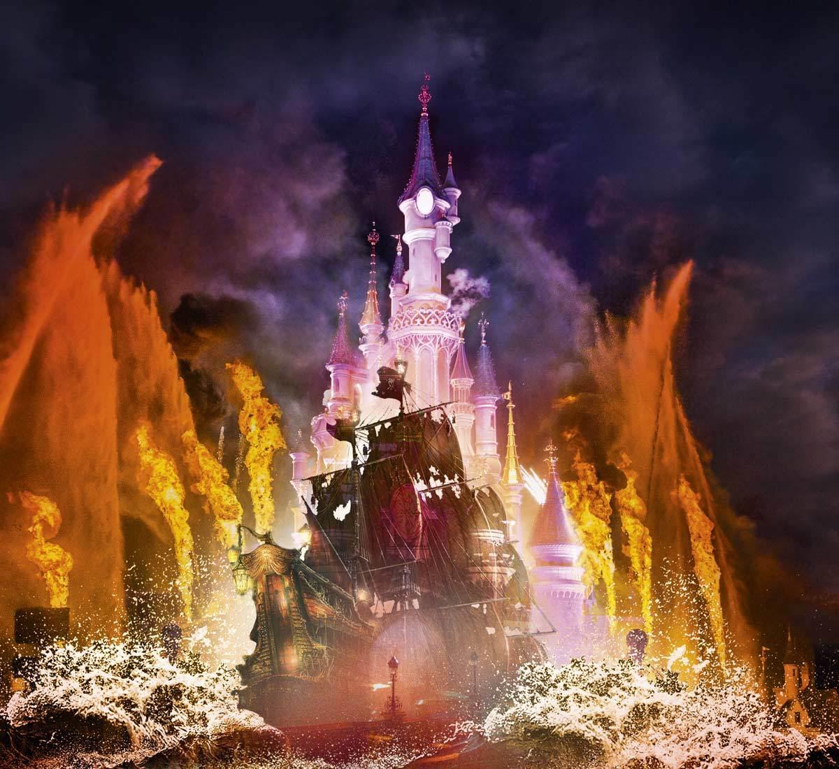 Proyección sobre el Castillo de la Bella Durmiente del espectáculo...
