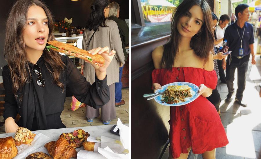 Emily Ratajkowski comiendo un bocadillo vegetal y en Bangkok...
