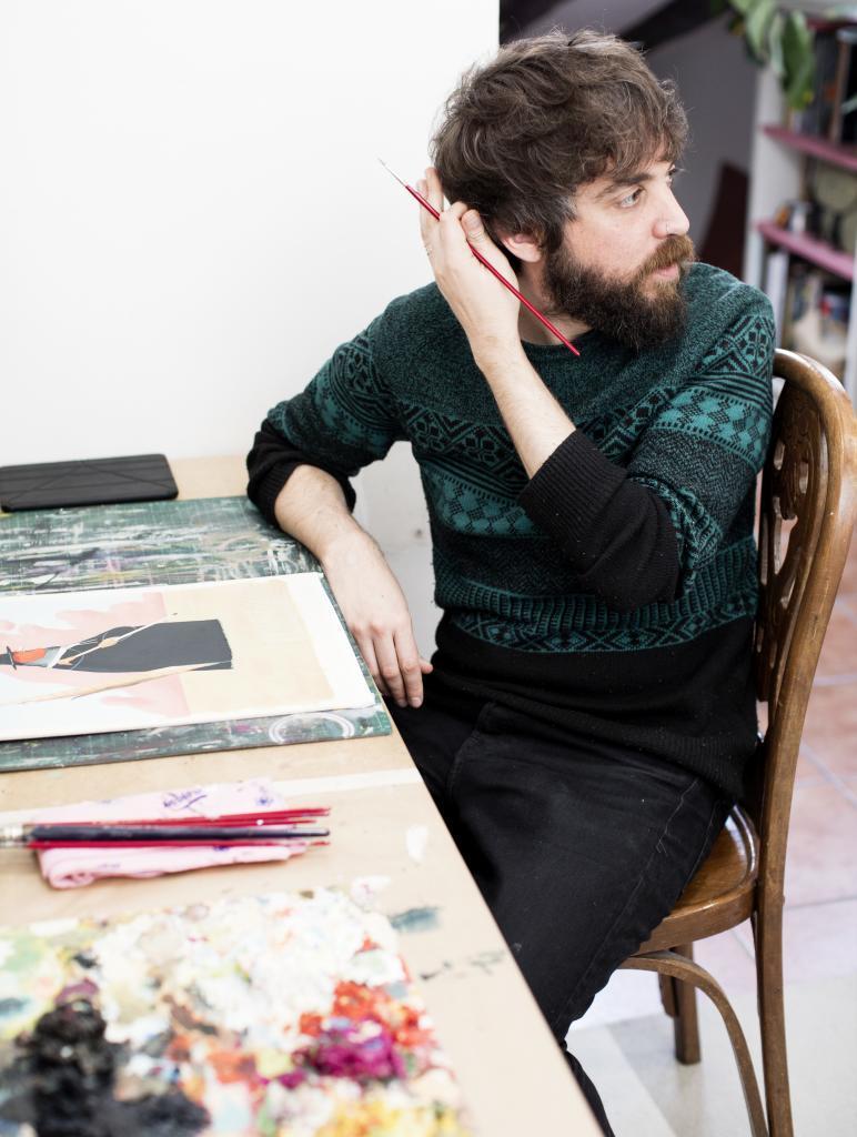 David de las Heras en su estudio, en el centro de Madrid