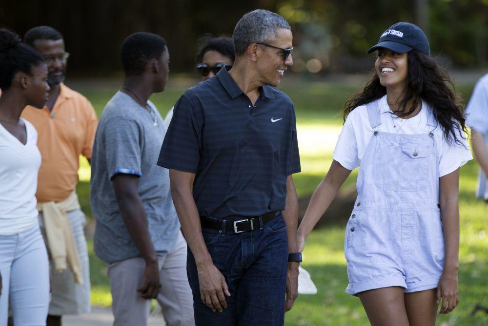 Malia Obama con su padre, Barack Obama