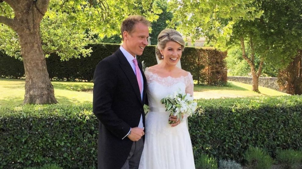 Natasha Archer y Chris Jackson el día de su boda