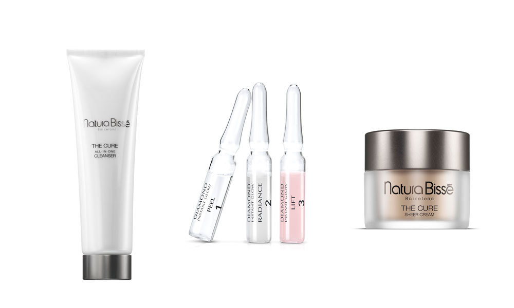 The Cure All-in-One Cleanser, Diamond Instant Glow y The Cure Sheer...
