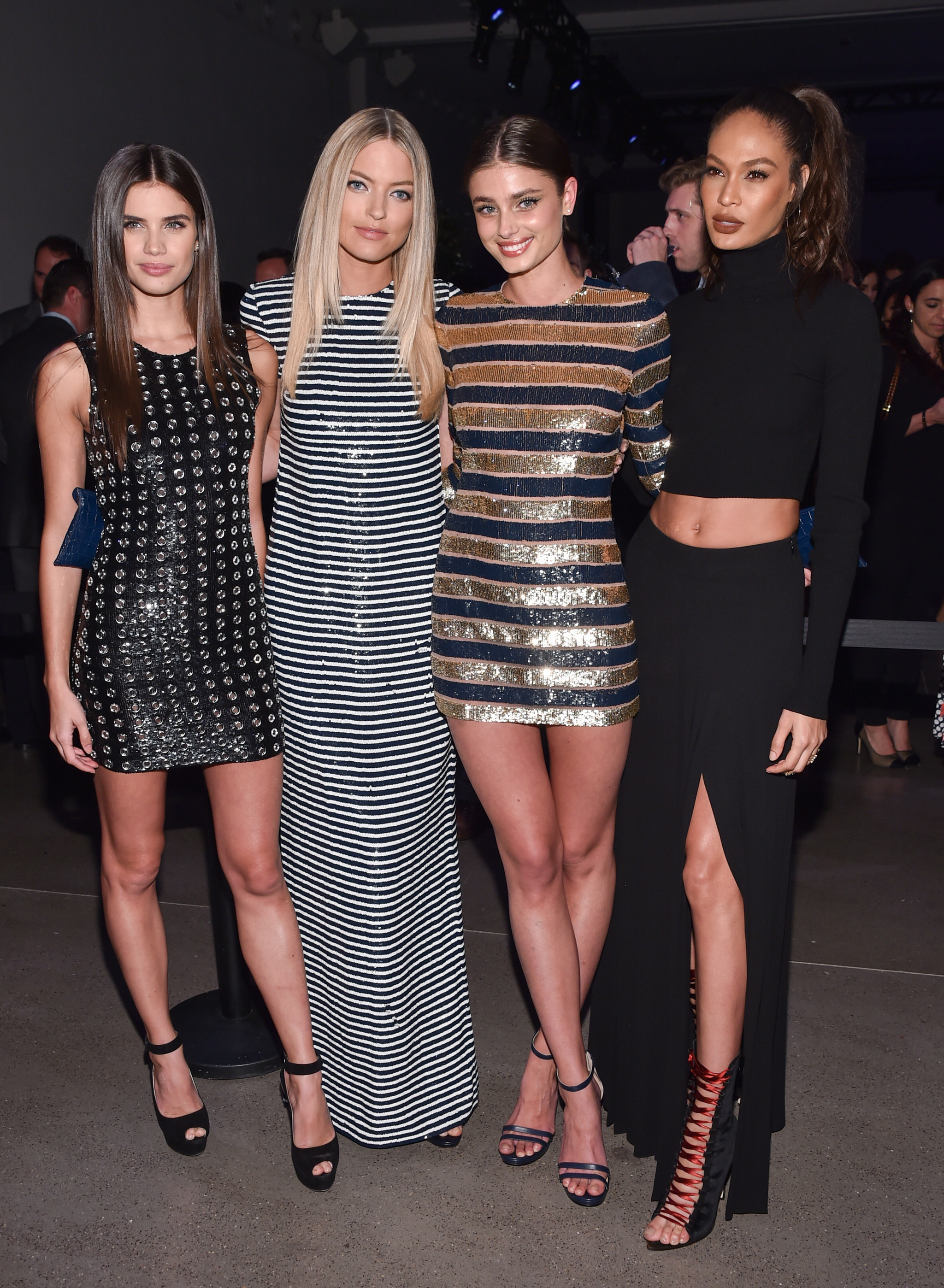 Models Sara Sampaio, from left, Martha Hunt, Taylor Hill and Joan...