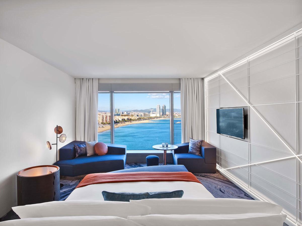 Una de las maravillosas habitaciones con vistas del hotel W Barcelona...