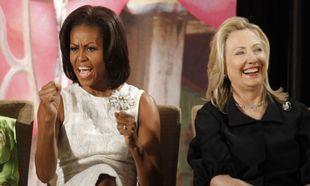 Hillary Clinton y Michelle Obama en el Departamento de Estado en...