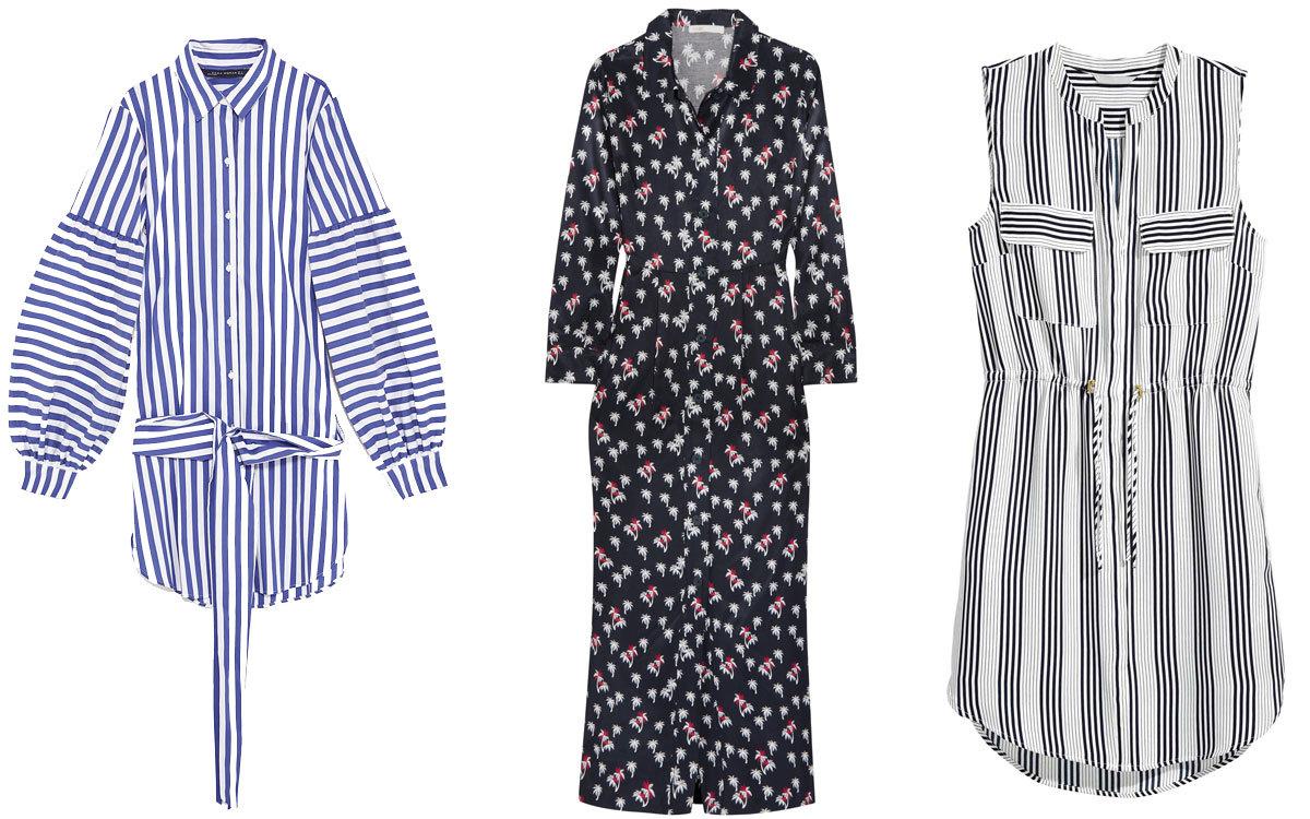 De izquierda a derecha: vestido camisero de rayas de Zara, en print de...