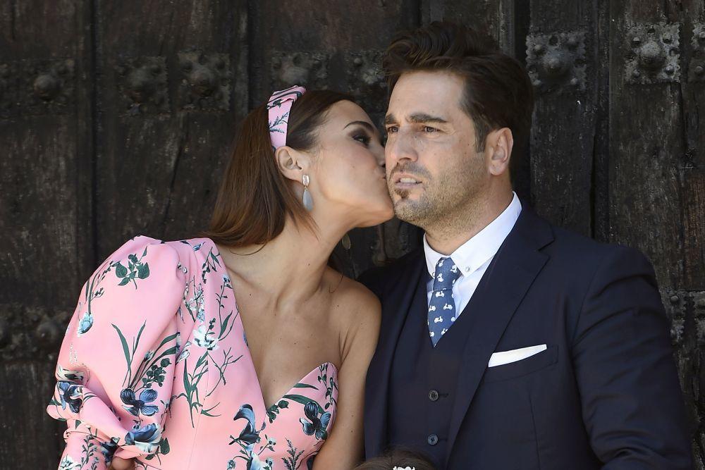 Paula Echevarría y David Bustamante durante la Comunión de Daniella.