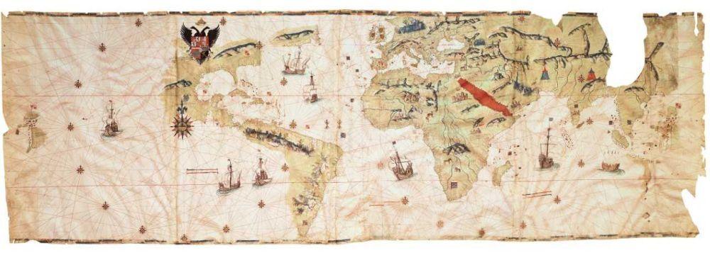 Mapamundi de Vespucci, 1526. Expuesto en Tesoros de la Hispanic...