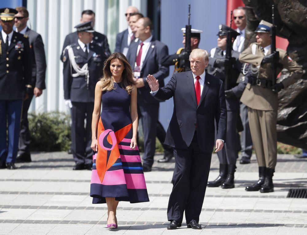 Donald Trump y Melania Trump de viaje oficia en Polonia