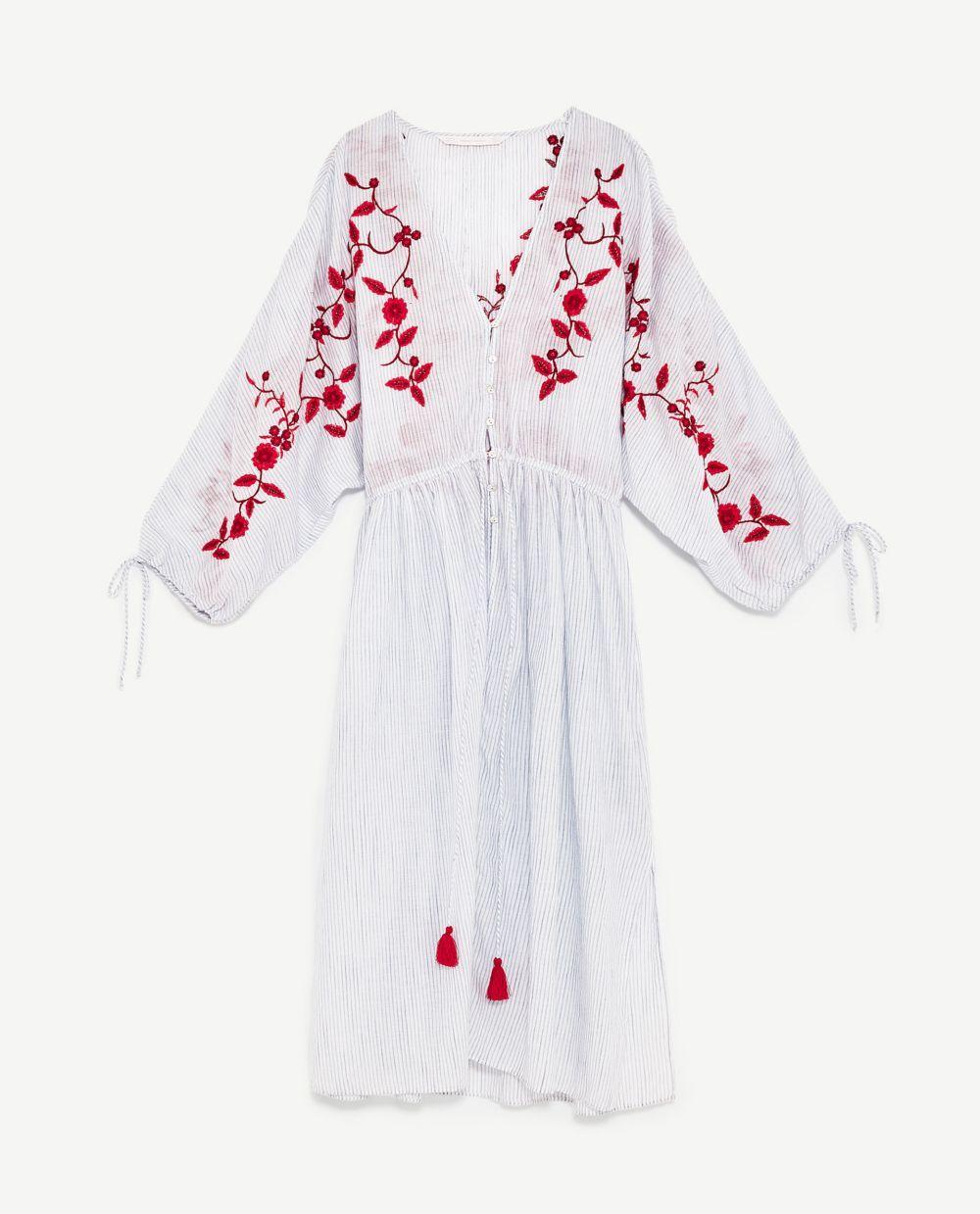 Vestido rayas con bordado de Zara