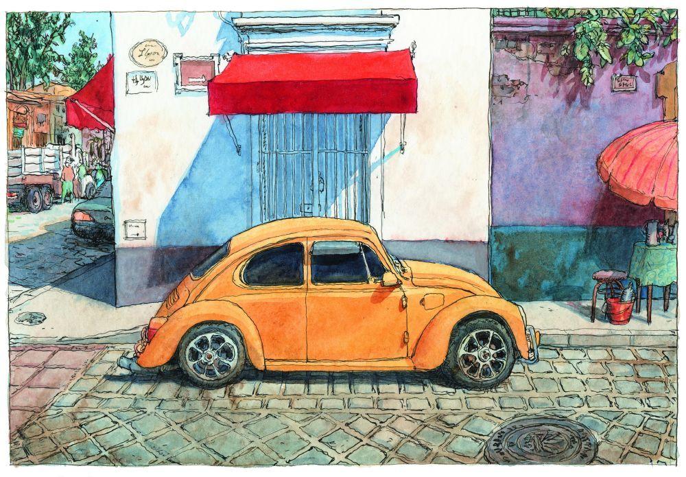 Un VW vocho en una calle de Oaxaca.