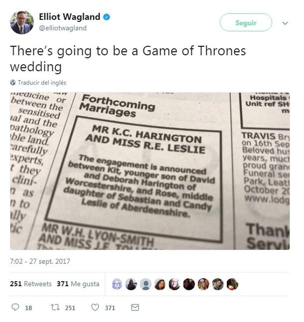 Aviso del anuncio de la boda de Kit Harington y Rose Leslie en el...