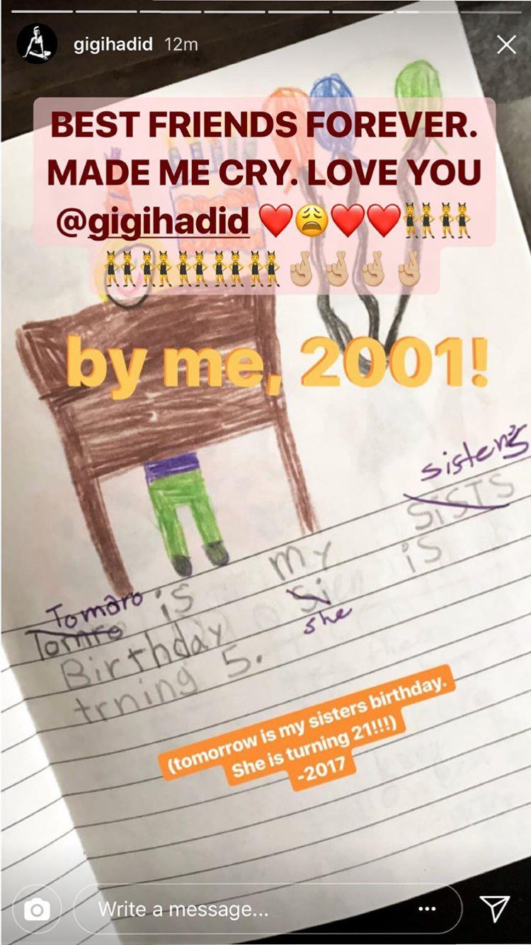 Imagen subida por Gigi Hadid como felicitación de cumpleaños a Bella...