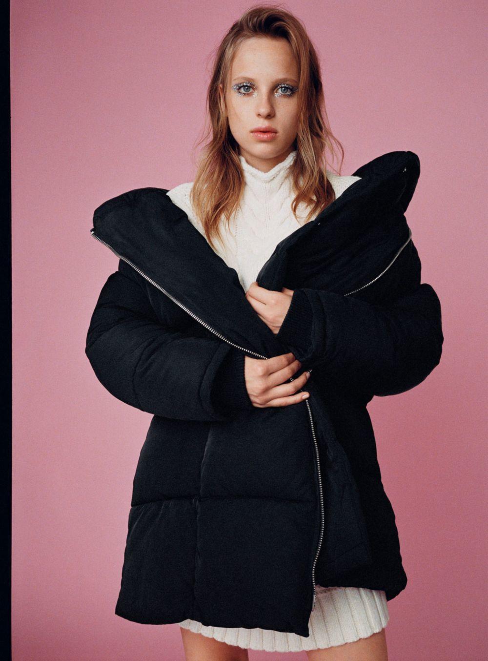 Zara abrigo de plumas