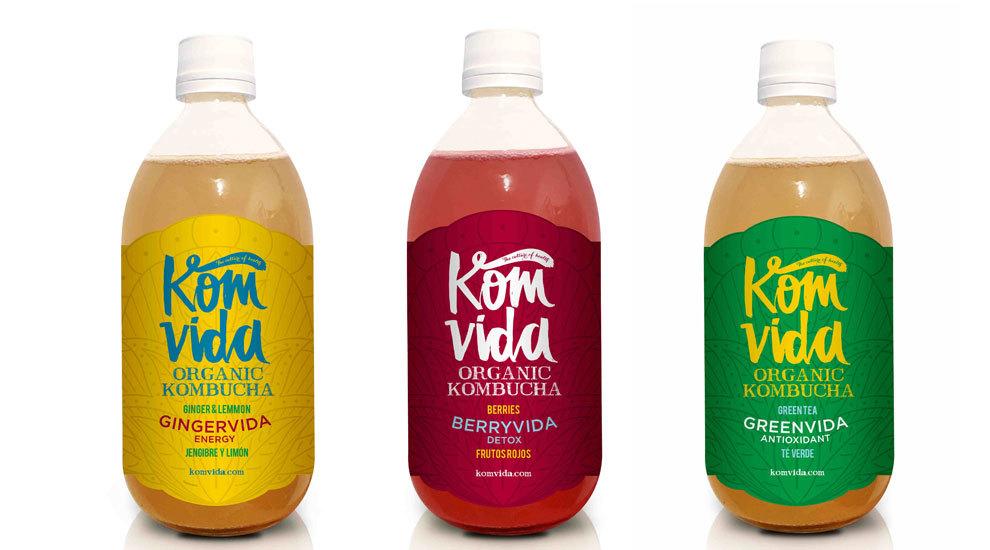 Bebidas orgánicas de Kombucha, de Komvida (2,90 euros, 250 ml) con...