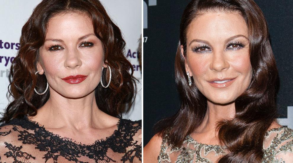 A la izquierda, Catherine Zeta Jones en 2015 y a la derecha, la actriz...