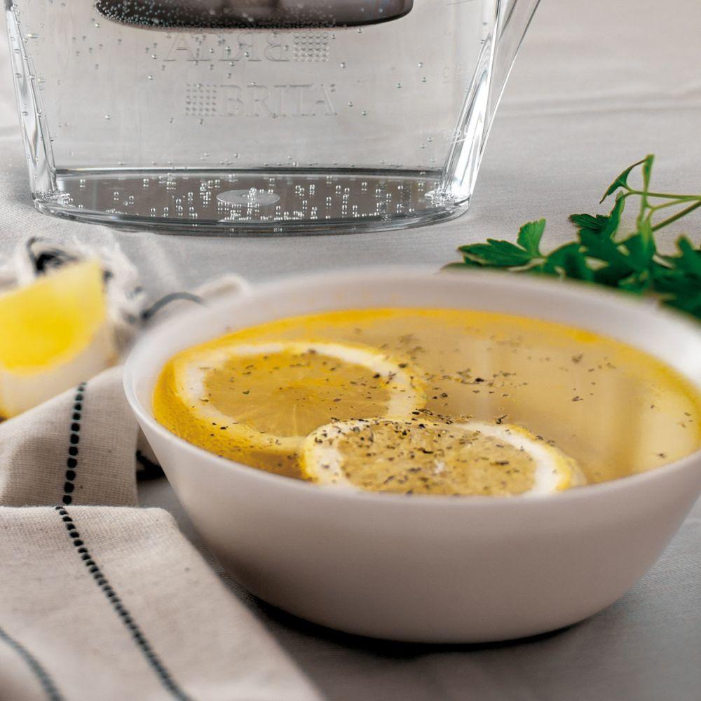 Caldo de jengibre, cilantro y limón