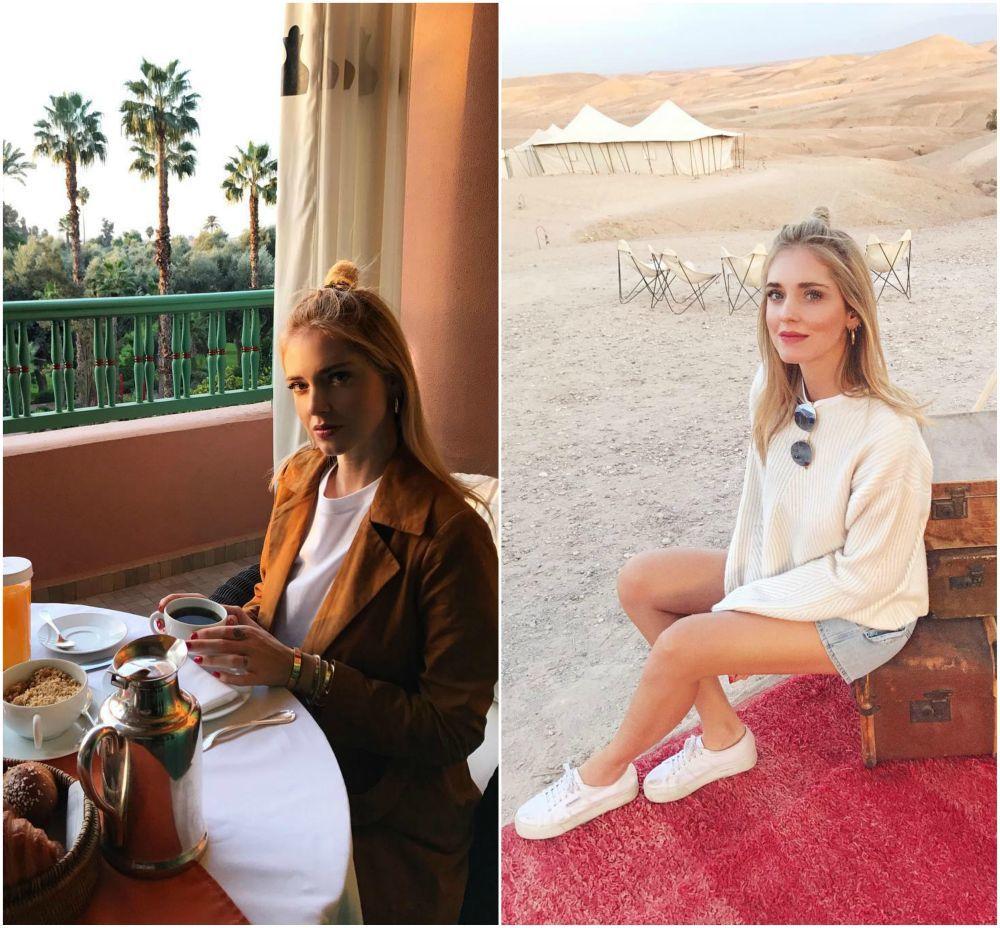 Chiara Ferragni posa en Marruecos con el half-up bun. Es el peinado...