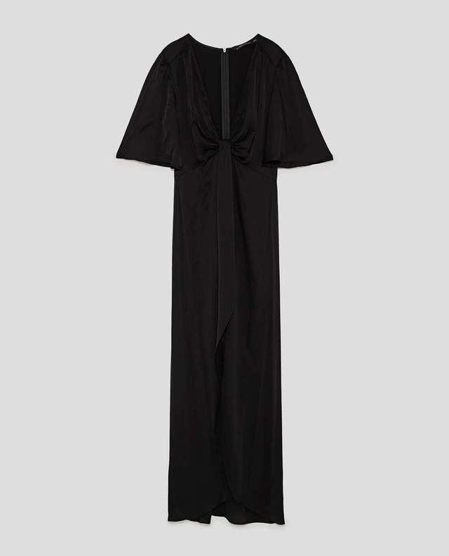 Vestido largo drapeado zara
