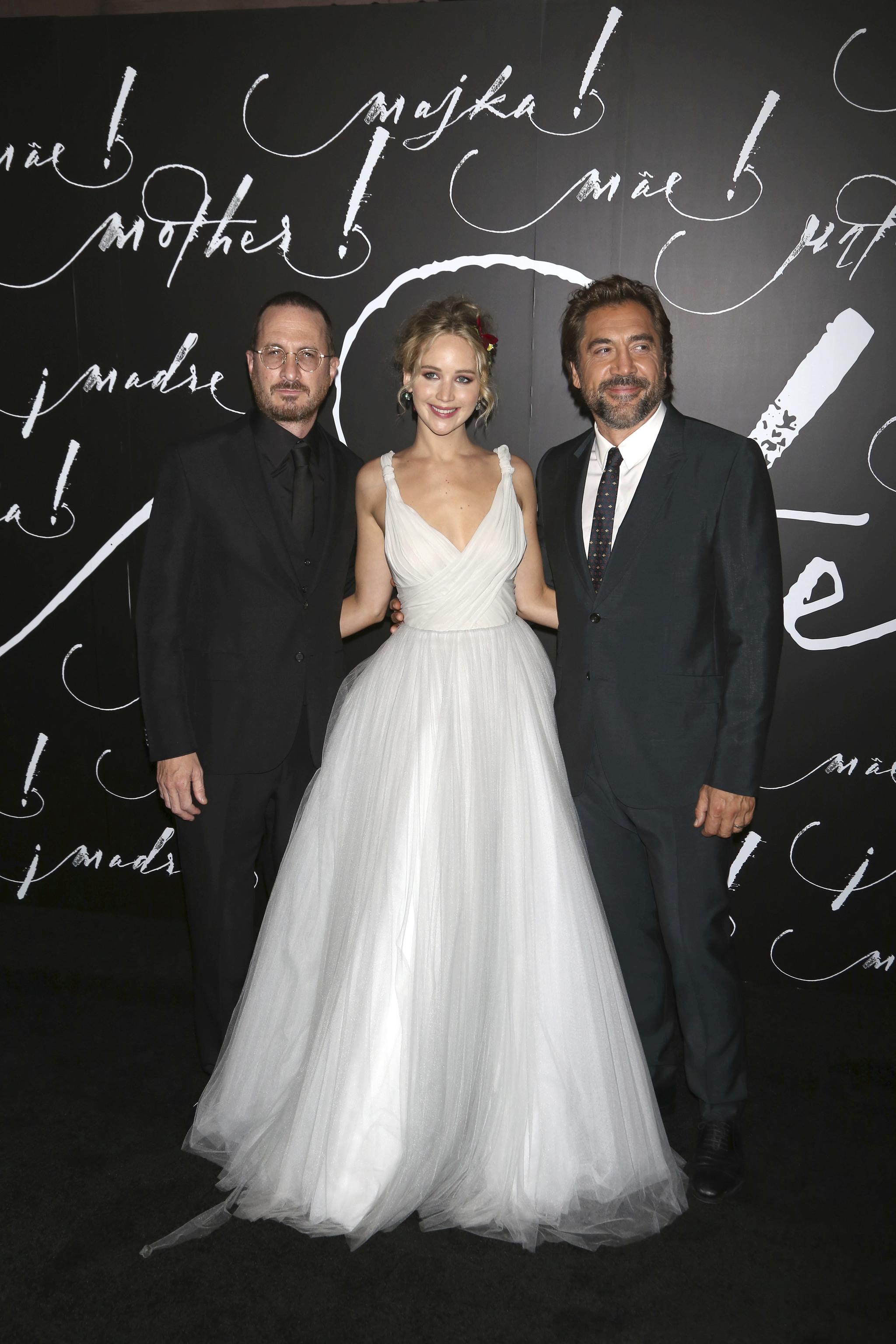 Jennifer Lawrence, junto a Javier Bardem y Darren Aronofsky en la...