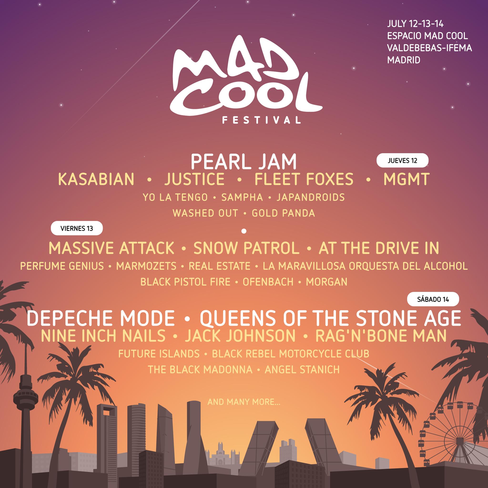 Cartel de Mad Cool Festival 2018 con Pearl Jam y Depeche Mode a la...